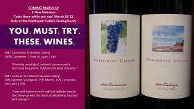 New Releases YOU. MUST. TRY. 2012 Carmenere and 2012 Cadenza Washington Red Blend