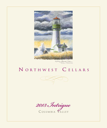 northwest cellars intrigue red wine 2013 label